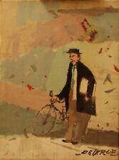 De Cerce Bruno-Uomo con bicicletta-Dipinto Originale olio su tela 30x40