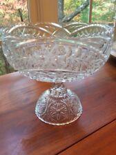 Vintage Pressed Glass Footed Pedestal  Composite Bowl Scolloped Rim Clear