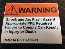 SHOCK & ARC FLASH WARNING STICKER - UFC 3-560-01  REFERENCE