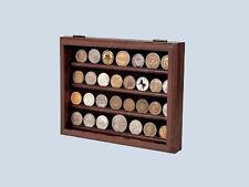 Walnut 32 Military Challenge Coin Wall Display USN USMC USAF