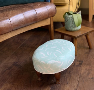 Cute, Fresh, Small Oval Upcycled Footstool, in designer fabric by Skimming Stone