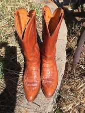 **Lucchese 1883 Exotic Caiman Alligator Inlaid Boots Size 9D**