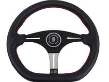 Rare Nardi Style Black Leather Red Stitch Sport Steering Wheel 354mm