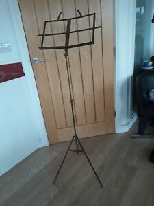 Vintage Sheet Music Stand Folding  English Made old gold colour Menu Lectern