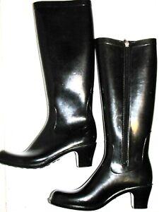 Regina Rain Boots Mid Calf Zipper Black Womens Size L