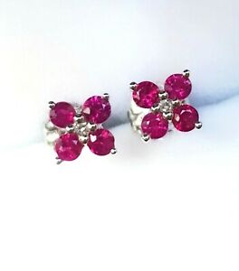 Natural 0.42ct Red Ruby Diamond 9K Solid White Gold Stud Earrings Push Back