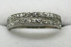 1980's Vintage Beautiful 18 carat Gold Double Row Diamond Half Eternity Ring