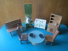 1950s 7pc+ VINTAGE KITCHEN WOOD DOLLHOUSE FURNITURE sink bench chair table