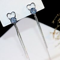 18K White Gold Filled Simulated Diamond Party Heart Double Chain Tassel Earrings