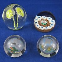 ART GLASS PAPERWEIGHTS Lot Of 4 Vintage MILLEFIORI Yellow Flowers ASIAN SCENERY