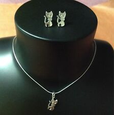 """""""Clearance"""" Sterling Silver Set.Cat Stud Earrings Chain And Pendant"""