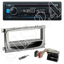 Kenwood USB CD Radio blau + Ford Focus ab07 Blende silber + Quadlock ISO Adapter