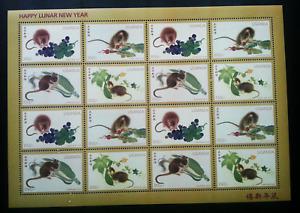 [SJ] Uganda Year Of The Rat 1996 Lunar Chinese Zodiac Painting (sheetlet) MNH