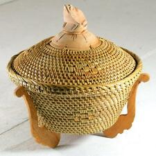 Woven Basket with Lid and Wooden Frog Figure Handle 20cm diameter