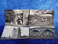 4 x VINTAGE Priories of YORKSHIRE POSTCARDS Views Kirkham Priory Helmsley Castle