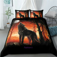 Doona Quilt Duvet Cover Set Single/Double/Queen/King Bed Pillowcase Orange Wolf