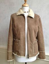 NEW- PRINCIPLES Faux Suede Fur Coat Jacket Tan Brown Cream Warm Medium 12