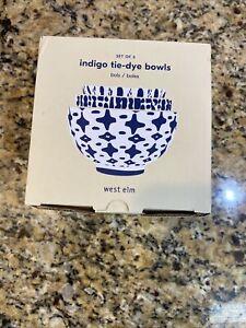West Elm Indigo Tie-Dye Bowls, Blue, Set/3 NIB