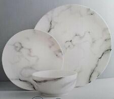 Marble Effect Dinner Set Painted Dining Plates Bowls Crockery Porceline 12pc UK