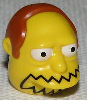 Lego New Yellow Minifig Head Modified Simpsons Comic Book Guy Orange Hair
