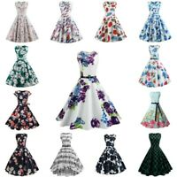 Women Vintage Prom Ball Gown Casual Party Dress Retro Swing Maxi Dress Sundress