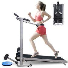 4-in-1 Folding Manual Walking Treadmill Machine Sit Up Bench w/ LCD Display US