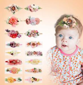 UK Handmade Newborn Baby Girls Flower Headband Infant Toddler Knot Hair Band