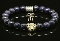 Blaufluss blau - goldfarbener Tigerkopf - Armband Bracelet Perlenarmband 8mm