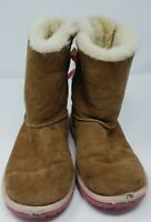 Ugg Boots Camel Suede with Pink Bows Size Girls US 3 .