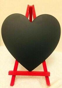 NEW 13cm Heart Shape Blackboard w/t chalk on Red Standing Write Love Messages