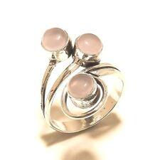 New Ring Silver Plated Rose Quartz Gemstone Fashion jewelry
