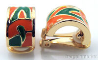 Coral & Olive Green Enamel Finish Gold Accent Half Hoop Clip On Earrings