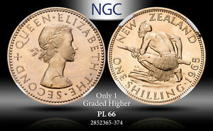 1965 NEW ZEALAND 1 SHILLING NGC PL66 ONLY 1 GRADED HIGHER
