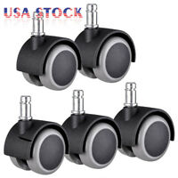 "Set of 5 Office Chair Wheel Caster Replacement Swivel Twin 7/16"" Grip Ring Stem"