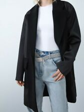 BRAND NEW  BLACK ZARA WOMEN MASCULINE COAT WITH COMBINED FABRIC SIZE M