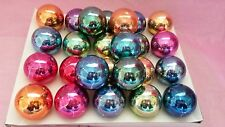 Vintage 50's Large Lot Bright Colourful Glass Crackle Pattern Xmas Baubles D172