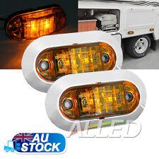 2X12V Amber  LED Oblong Side Marker Clearance Light Indicator Car Turck RV Lamp