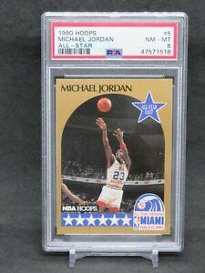1990 NBA HOOPS MICHAEL JORDAN ALL-STAR #5 CHICAGO BULLS PSA 8 AB