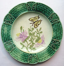 French plate Majolica, production ORCHIES: Flowers and Butterfly