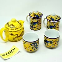 5 Pieces YELLOW/ GOLDEN Chinese DRAGON Tea Set Teapot strainer 4 Cups - RARE