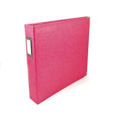 WE R MEMORY KEEPERS FAUX LEATHER 3-RING SCRAPBOOK ALBUM BINDER 12X12- STRAWBERRY