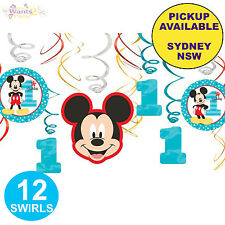 MICKEY MOUSE 1ST BIRTHDAY PARTY SUPPLIES 12pk HANGING SWIRLS DECORATIONS