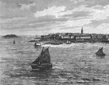 FRANCE. St Malo c1885 old antique vintage print picture