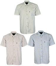 Mens Champions Tattersall Shirt Short Sleeve Check Pattern Polycotton