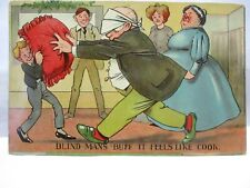 1910 POSTCARD BLIND MAN'S BLUFF IT FEELS LIKE COOK, PILLOW AND FAT LADY