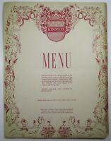 Vintage Restaurant Menu Kinneil House Sydney Australia 1940-50's