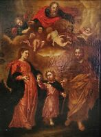 Holy Family & God Italian Renaissance Old Master 16th/17thC Antique Oil Painting