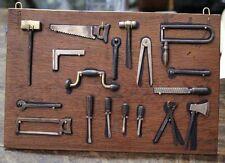 Lovely old brass & oak 18 tiny tools panel miniature VERY FUNNY & DECORATIVE