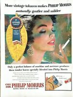 1955 Philip Morris Cigarette Vintage Print Ad Vintage Tobacco Naturally Gentler