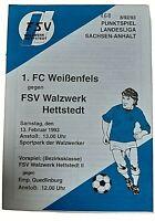Programm 13.2.1993 FSV Hettstedt 1.FC Weißenfels Landesliga Sachsen Anhalt DDR